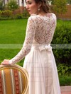 A-line Scoop Neck Lace Chiffon Sashes / Ribbons Sweep Train Long Sleeve Latest Wedding Dresses #PDS00022687