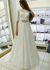 A-line Scalloped Neck Satin Lace Sashes / Ribbons Floor-length 1/2 Sleeve Elegant Wedding Dresses #PDS00022688