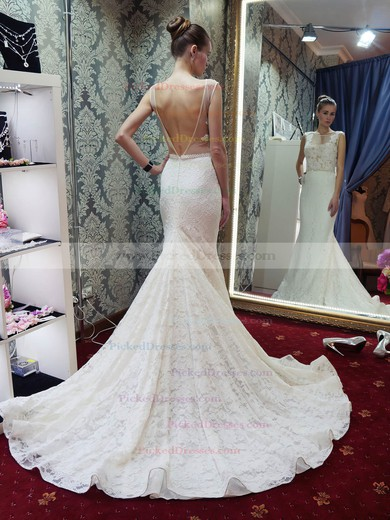 Sexy Trumpet/Mermaid Scoop Neck Lace Tulle Beading Court Train Backless Wedding Dresses #PDS00022689