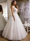 Noble Princess Scoop Neck Tulle with Appliques Lace Floor-length Wedding Dresses #PDS00022690