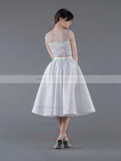 A-line Scoop Neck Lace Satin Appliques Lace Tea-length Two Piece New Arrival Wedding Dresses #PDS00022692