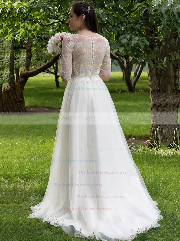 Nice A-line Scoop Neck Tulle Lace Appliques Lace Sweep Train 1/2 Sleeve Wedding Dresses #PDS00022693
