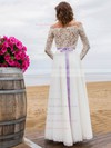 Fashion A-line Off-the-shoulder Lace Chiffon Sashes / Ribbons Floor-length Wedding Dresses #PDS00022694