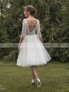 A-line Square Neckline Tulle Lace Tea-length 1/2 Sleeve Backless Ladies Wedding Dresses #PDS00022696