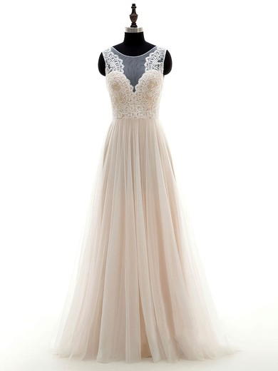 Inexpensive A-line Scoop Neck Tulle Appliques Lace Floor-length Wedding Dresses #PDS00022697