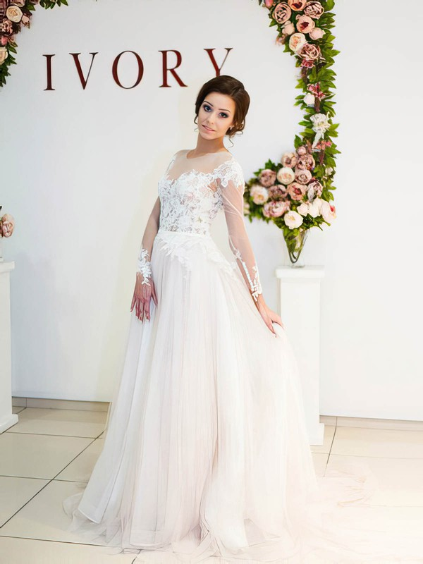 A-line Scoop Neck Tulle Appliques Lace Sweep Train Long Sleeve Unique Wedding Dresses#PDS00022698