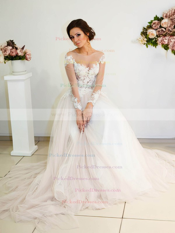A-line Scoop Neck Tulle Appliques Lace Sweep Train Long Sleeve Unique Wedding Dresses #PDS00022698