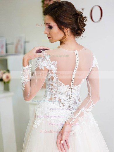 A-line Scoop Neck Tulle Appliques Lace Sweep Train Long Sleeve Unique Wedding Dresses #PDS00022698