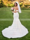 Trumpet/Mermaid Sweetheart Satin Tulle Pearl Detailing Court Train Two Piece Newest Wedding Dresses #PDS00022699