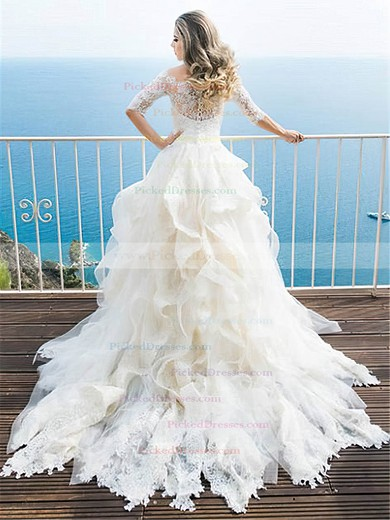 Classy A-line Off-the-shoulder Tulle Lace Cascading Ruffles Court Train 1/2 Sleeve Wedding Dresses #PDS00022700