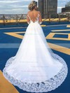 A-line Scoop Neck Tulle Appliques Lace Court Train Long Sleeve Beautiful Wedding Dresses #PDS00022701