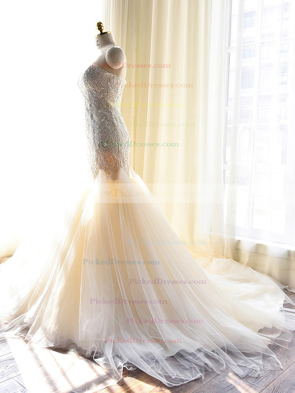 Discounted Trumpet/Mermaid Sweetheart Tulle with Appliques Lace Court Train Wedding Dresses #PDS00022703