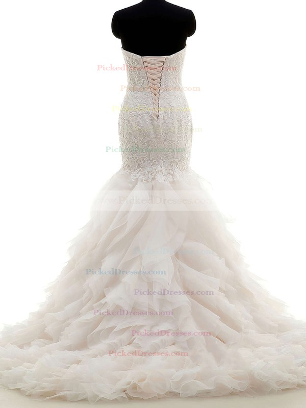 Original Trumpet/Mermaid Sweetheart Tulle with Lace Sweep Train Wedding Dresses #PDS00022704