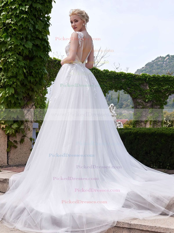 A-line Scoop Neck Tulle Appliques Lace Court Train Backless New Style Wedding Dresses #PDS00022705