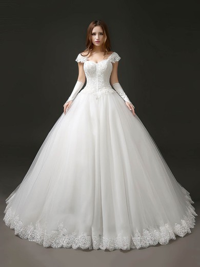 Glamorous Princess Sweetheart Tulle with Appliques Lace Chapel Train Wedding Dresses #PDS00022706