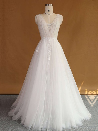 Original A-line V-neck Tulle with Appliques Lace Sweep Train Backless Wedding Dresses #PDS00022707