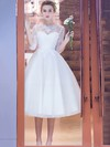 A-line Scoop Neck Tulle Appliques Lace Tea-length 1/2 Sleeve Pretty Wedding Dresses #PDS00022708