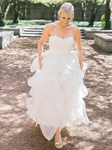 Beautiful A-line Sweetheart Organza with Appliques Lace Sweep Train Wedding Dresses #PDS00022709
