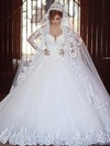 Ball Gown V-neck Tulle Appliques Lace Chapel Train Long Sleeve Glamorous Wedding Dresses #PDS00022710