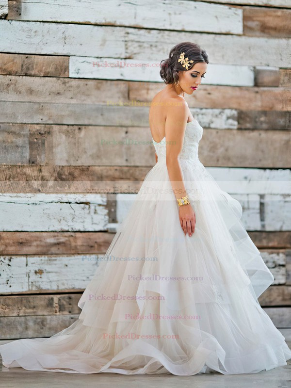 Fabulous Princess Sweetheart Tulle Appliques Lace Sweep Train Backless Wedding Dresses #PDS00022711