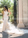 Amazing Trumpet/Mermaid Sweetheart Lace Tulle Appliques Lace Court Train Wedding Dresses #PDS00022712