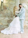 A-line Scoop Neck Lace Organza Ruffles Sweep Train Long Sleeve Two Piece Perfect Wedding Dresses #PDS00022713