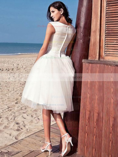 Simple Princess Scoop Neck Satin Tulle with Ruffles Knee-length Wedding Dresses #PDS00022714