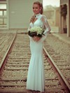 Trumpet/Mermaid High Neck Chiffon Tulle Appliques Lace Floor-length Long Sleeve Open Back Famous Wedding Dresses #PDS00022715