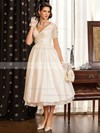 Classy A-line V-neck Taffeta with Lace Tea-length Short Sleeve Wedding Dresses #PDS00022716