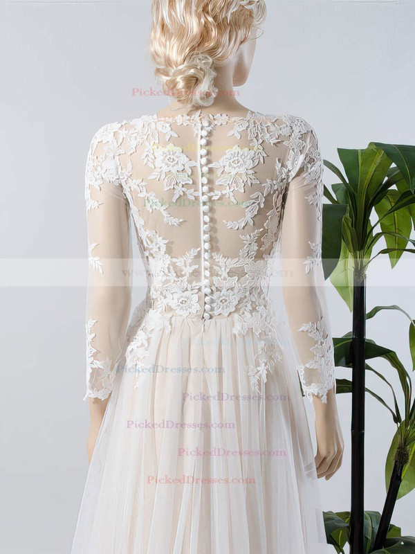 A-line V-neck Tulle Appliques Lace Sweep Train Long Sleeve Custom Wedding Dresses #PDS00022717