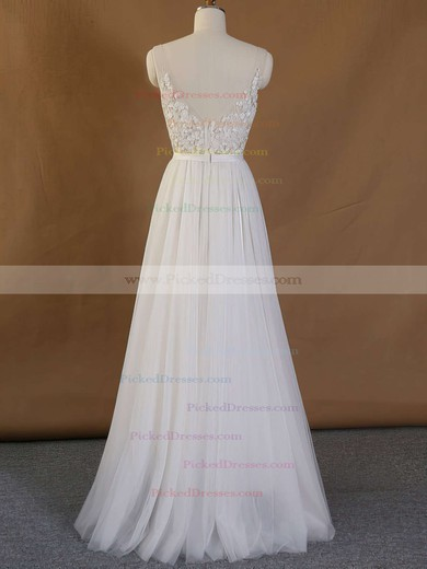 Cheap A-line V-neck Tulle Appliques Lace Floor-length Backless Wedding Dresses #PDS00022718