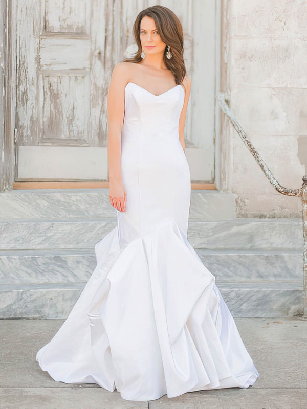 Affordable Trumpet/Mermaid V-neck Taffeta Pick-Ups Floor-length Wedding Dresses #PDS00022719