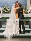 Affordable Trumpet/Mermaid V-neck Taffeta Pick-Ups Floor-length Wedding Dresses #PDS00022719