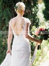 Sheath/Column Scoop Neck Lace Tulle Split Front Sweep Train Backless Sexy Wedding Dresses #PDS00022720
