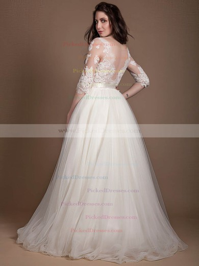 Princess Scoop Neck Tulle Appliques Lace Floor-length 1/2 Sleeve New Wedding Dresses #PDS00022723