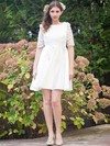 Newest A-line Scoop Neck Satin with Lace Short/Mini 1/2 Sleeve Backless Wedding Dresses #PDS00022724