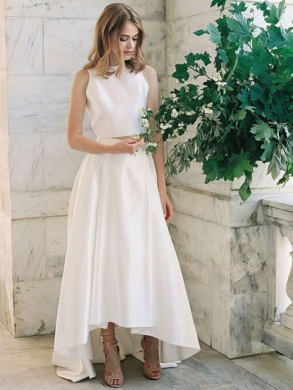A-line Scoop Neck Satin with Ruffles Asymmetrical Two Piece Latest Wedding Dresses #PDS00022725