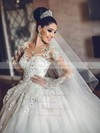 Ball Gown Scoop Neck Tulle Appliques Lace Chapel Train Long Sleeve New Arrival Wedding Dresses #PDS00022727