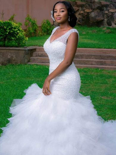 Stunning Trumpet/Mermaid V-neck Tulle Beading Chapel Train Backless Wedding Dresses #PDS00022728