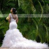Stunning Trumpet/Mermaid V-neck Tulle Beading Chapel Train Backless Wedding Dresses #PDS00022728