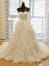Original A-line Sweetheart Organza with Beading Court Train Wedding Dresses #PDS00022730