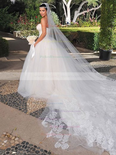 Boutique Ball Gown Strapless Tulle with Lace Chapel Train Wedding Dresses #PDS00022731
