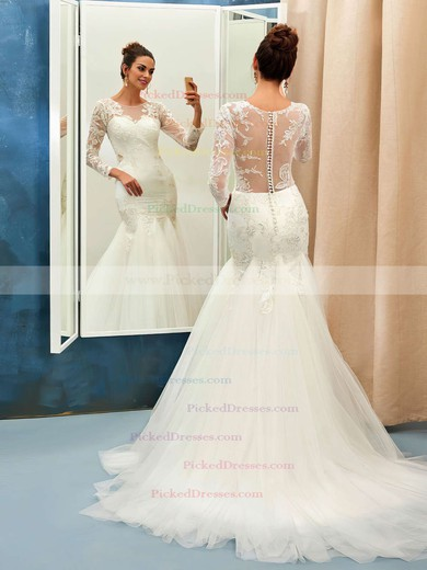 Trumpet/Mermaid Scoop Neck Tulle Appliques Lace Sweep Train Long Sleeve Online Wedding Dresses #PDS00022732