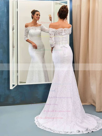 Top Trumpet/Mermaid Off-the-shoulder Lace Sweep Train 3/4 Sleeve Wedding Dresses #PDS00022733