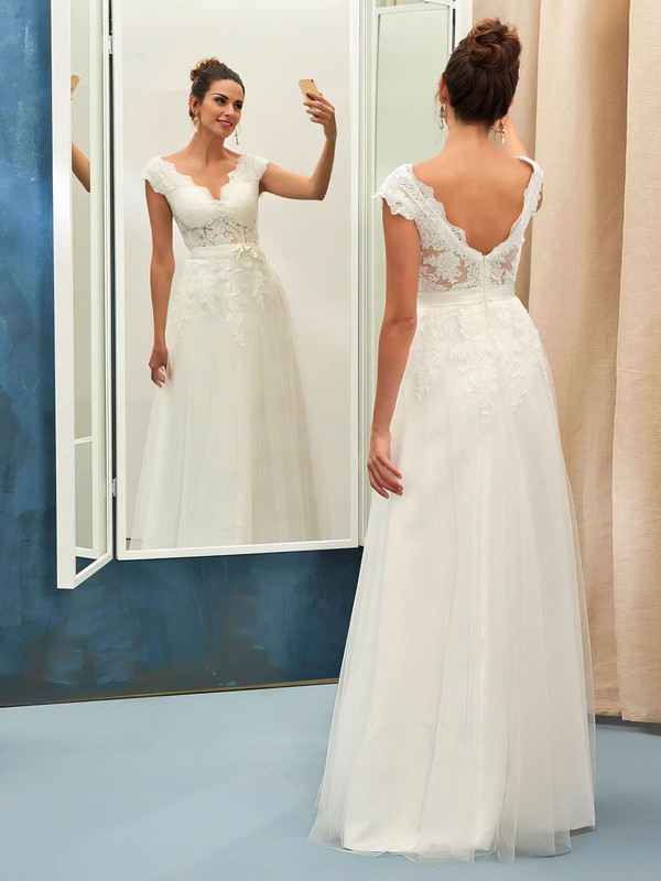 A-line V-neck Tulle with Appliques Lace Floor-length Backless Nice Wedding Dresses #PDS00022734