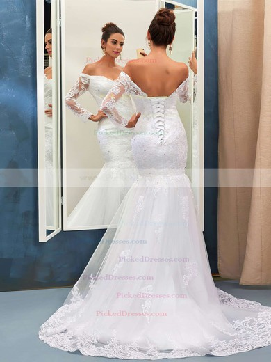 Nicest Trumpet/Mermaid Off-the-shoulder Tulle Appliques Lace Sweep Train Long Sleeve Wedding Dresses #PDS00022735