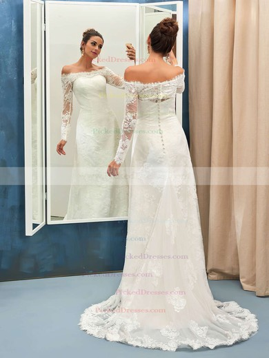 Sheath/Column Off-the-shoulder Tulle Appliques Lace Sweep Train Long Sleeve Great Wedding Dresses #PDS00022736