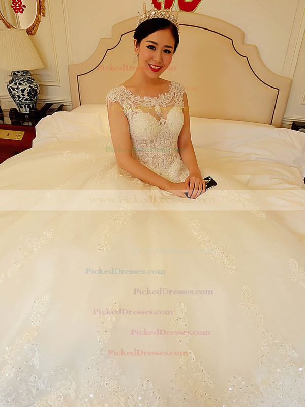 Ball Gown Scoop Neck Tulle Appliques Lace Chapel Train Open Back Sparkly Wedding Dresses #PDS00022738