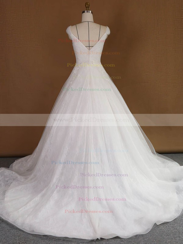 Original Princess V-neck Lace Tulle Appliques Lace Court Train Wedding Dresses #PDS00022740
