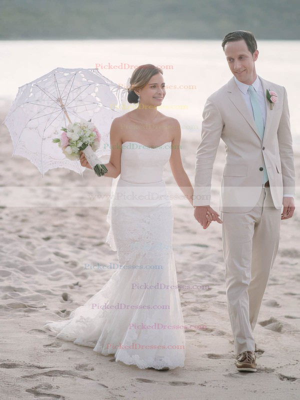 Modest Trumpet/Mermaid Sweetheart Tulle Appliques Lace Sweep Train Wedding Dresses #PDS00022742